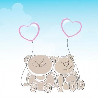 快乐友谊日背景与可爱的泰迪熊抱着心形气球在蓝色的背景