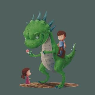 印花矢量圖 人物 男孩 女孩 恐龍 免費素材