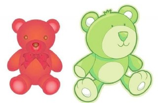2个可爱的卡通玩具熊的载体材料