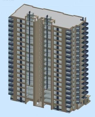 对称型高层塔式住宅楼3d模型