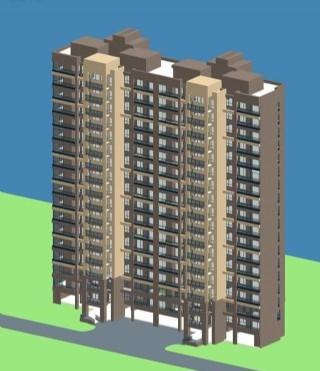 高层板式双联住宅楼3D模型
