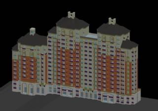 高层三联排阶梯塔式住宅楼模型