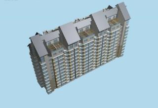 高层塔式坡顶住宅楼俯视效果模型