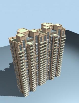 高层塔式双联住宅楼俯视效果模型