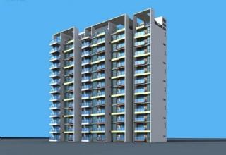 框架顶高层板式住宅楼3D模型
