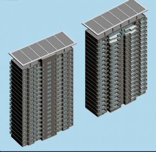 两栋太阳能顶板式住宅楼模型