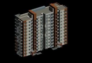 平顶高层两联排塔式住宅楼3d模型