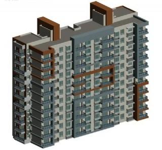平顶高层两联排塔式住宅楼背面3d模型