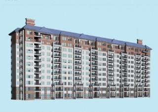 坡顶高层板式联排住宅楼3d模型