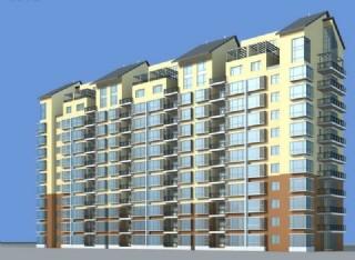 坡顶高层板式住宅楼3D模型