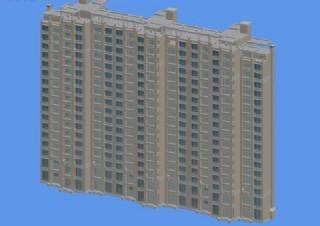 三联排塔式高层住宅楼模型