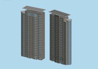 太阳能顶两栋板式住宅楼模型